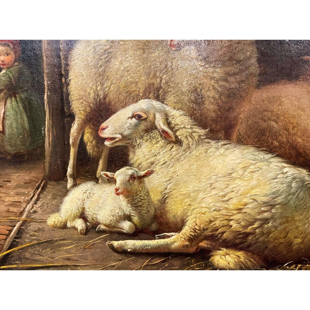19th Century Dutch Sheep Painting in Carved Gilt Frame Signed Frans Lebret For Sale - Image 10 of 13