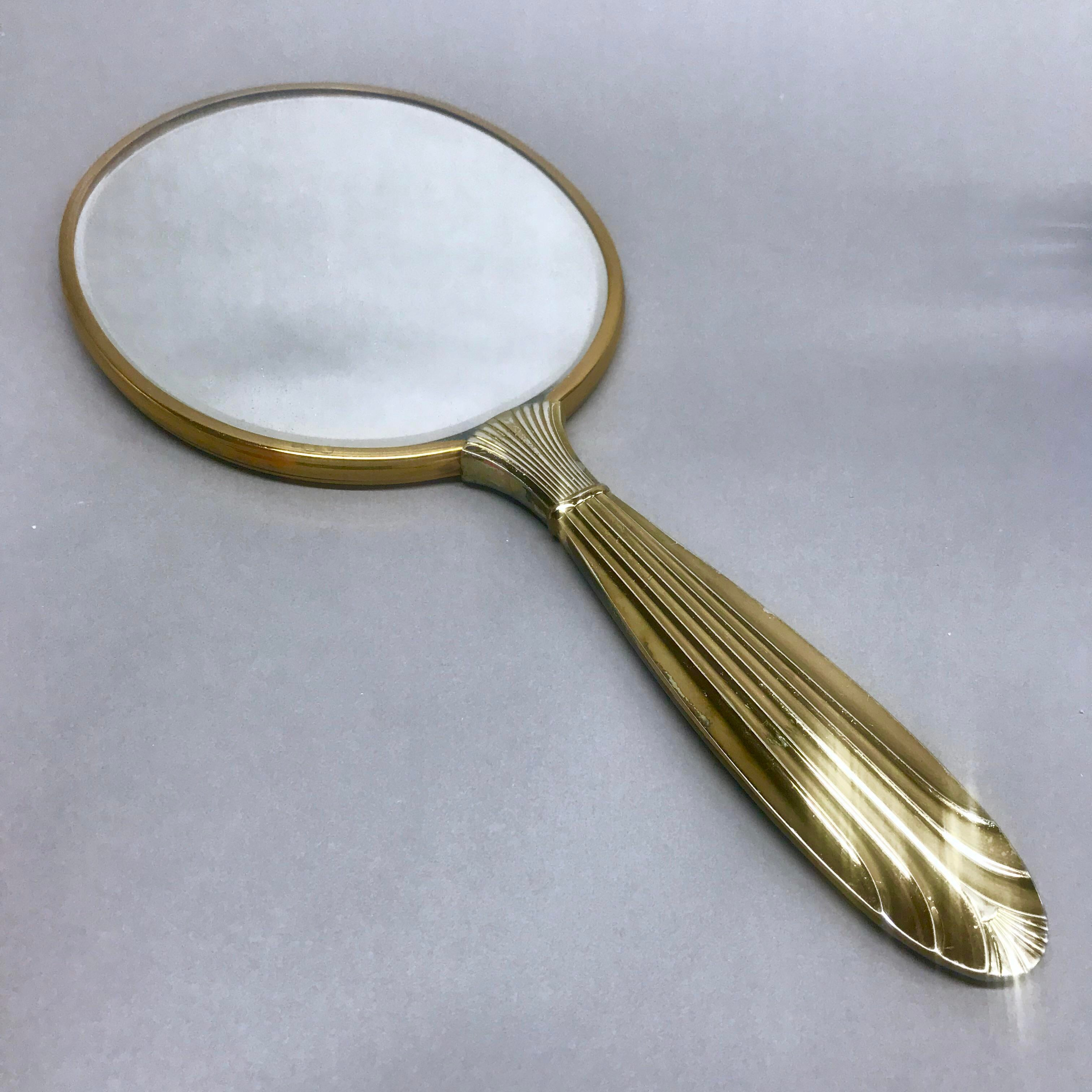 Antique hand mirror Small 1960s 1960s Antique Art Deco Regency Vanity Hand Mirror For Sale Image Of Chairish 1960s Antique Art Deco Regency Vanity Hand Mirror Chairish