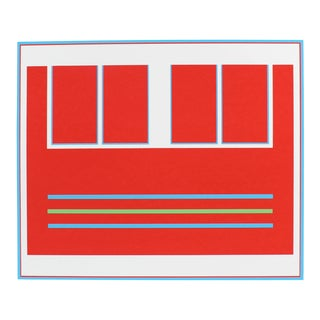 "Gwen Stone ""Two Divided Squares"" Red Abstract Serigraph, 1979 For Sale"