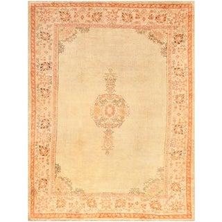 Antique Turkish Oushak Room Sized Rug - 9′6″ × 12′5″ For Sale