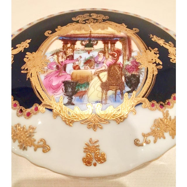 20th C. French Sevres Limoges Style Cobalt & Gold Tray & Box - Image 5 of 11