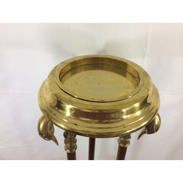 Napoleon III Empire Mahogany and Brass Stand with Swan Heads For Sale - Image 6 of 9