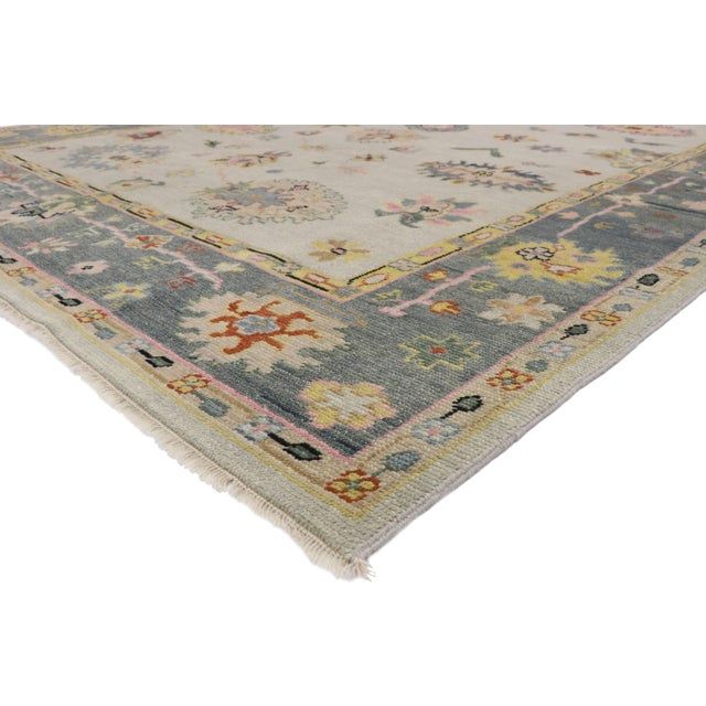 30516 Contemporary Oushak Transitional Area Rug, Vintage Inspired Area Rug. The large-scale geometric print and pops of...