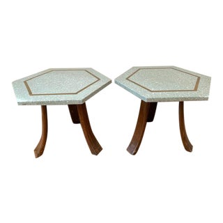 Harvey Probber Blue Terrazzo Hexagonal Tripod Side Tables - a Pair For Sale