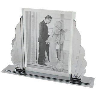 Large French 1930s Art Deco Modernist Chrome Picture Photo Frame For Sale