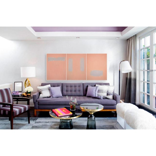 """An abstract triptych with subtle color-play. This is professional grade acrylic paint on three, 48"""" high by 36"""" wide by..."""