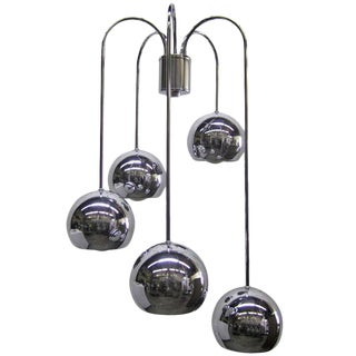 Five-Tier Chrome Pendant Lamp By Robert Sonneman For Sale