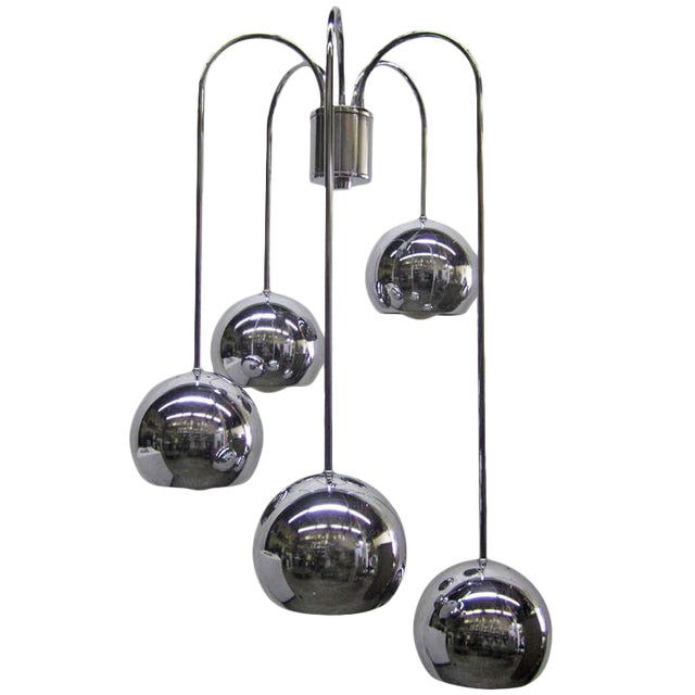Five-Tier Chrome Pendant Lamp By Robert Sonneman - Image 1 of 6
