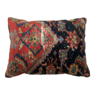 Antique Navy Weathered Rug Pillow For Sale