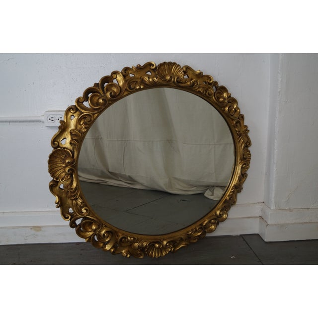 Antique Italian Rococo Style Giltwood Carved Oval Wall Mirror - Image 2 of 10