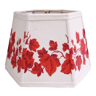 Red & White Vintage Fabric Hexagon Lamp Shade For Sale