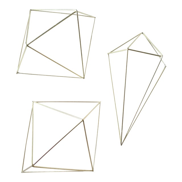 Metal Gold 3D Diamond Wall Hangings - Set of 3 - Image 1 of 6