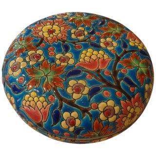 1920's Antique Emaux De Longwy French Porcelain Box For Sale