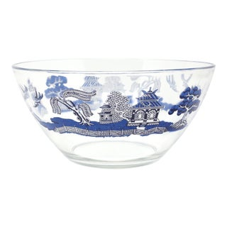 "Vintage ""Blue Willow"" Glass Serving Bowl by Johnson Brothers For Sale"