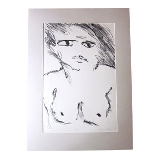 "1970s Vintage Suzanne Peters ""Face"" Nude Woman Limited Edition Signed Lithograph For Sale"