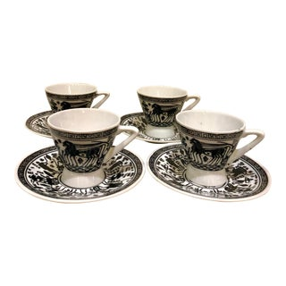 Greek Hand Painted Espresso Set For Sale