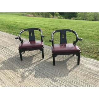 1960s Vintage Ming James Mont for Century Furniture Black Lacquered Yoke Chairs- A Pair Preview