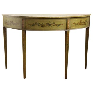19th Century English Adam Style Paint Decorated Demilune Console Table For Sale