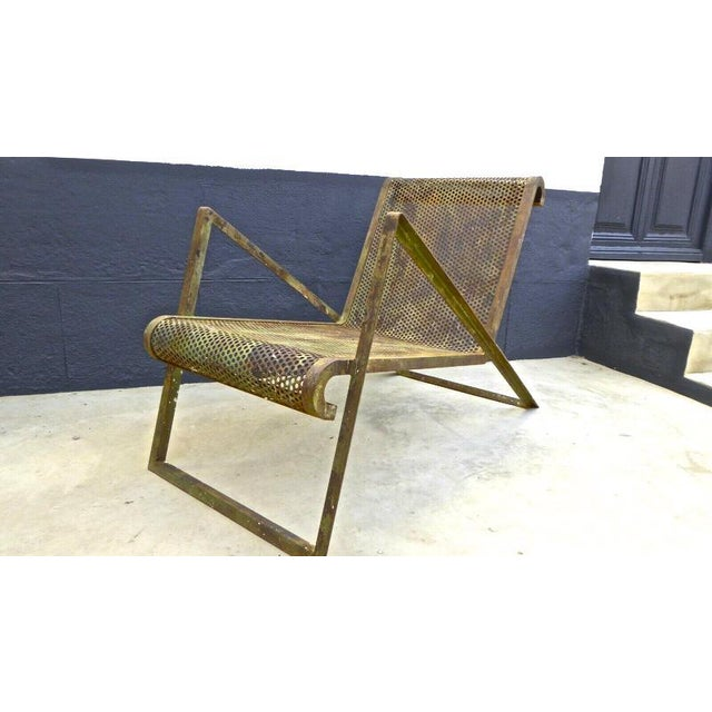 Gold Jean Royere Early Rarest Documented Perforated Iron Lounge Chair For Sale - Image 8 of 12