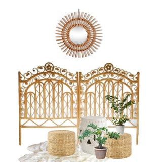 Vintage Boho Chic Twin Rattan Headboards - a Pair Preview