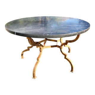 1960s Vintage French Hollywood Regency Gilt Wrought Iron Marble Top Coffee Table For Sale