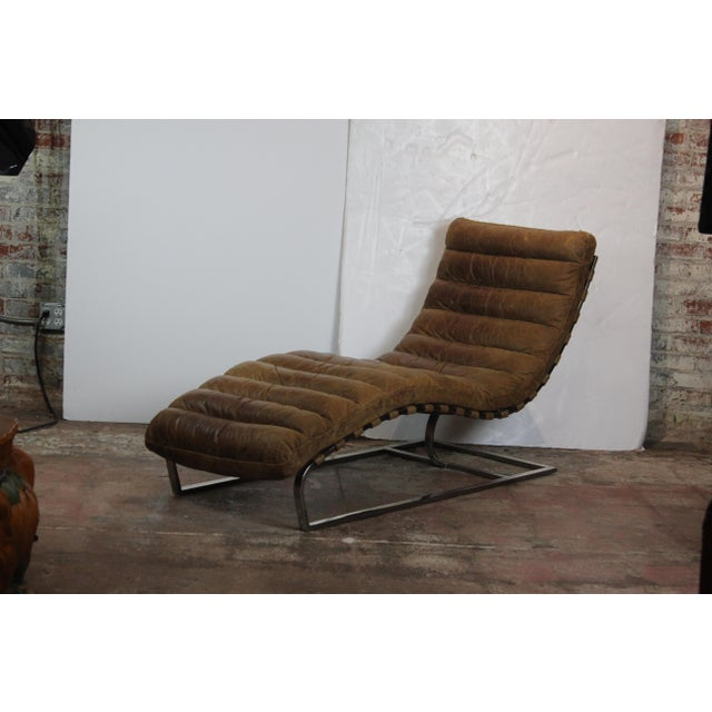Early 21st Century Restoration Hardware Oviedo Leather Chaise For Sale - Image 5 of 5