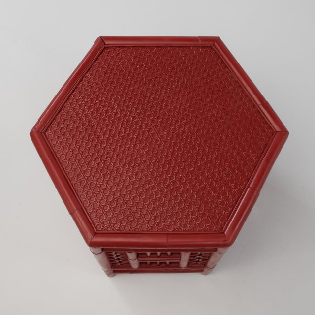 1970s Chinoiserie Hexagonal Bamboo Coffee Side Table For Sale - Image 9 of 12