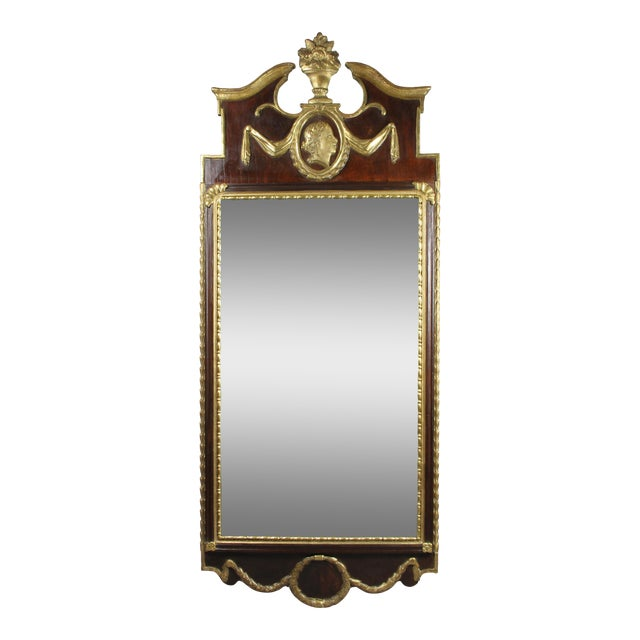 Danish Neoclassical Mahogany and Parcel Gilt Mirror For Sale