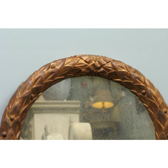Gold Garland Mirror With Gilded Wooden Frame and Foliage Motif For Sale - Image 8 of 9