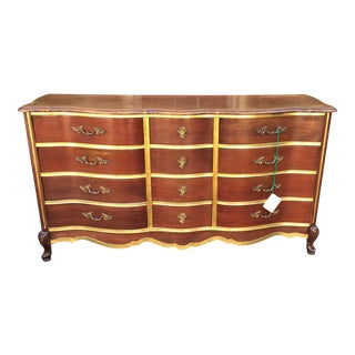 Last Chance! Antique Walnut & Gilt-Wood Buffet or Chest of Drawers by Bassett For Sale
