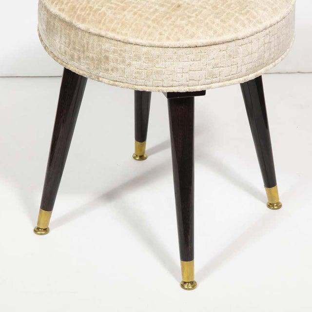 Mid-Century Modern Mid-Century Modern Ebonized Walnut and Gauffraged Oyster Klismos Vanity Chair For Sale - Image 3 of 10