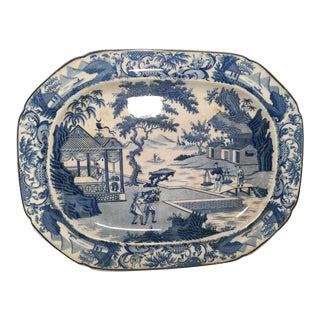Antique Transferware Pearlware Blue and White Staffordshire Large Platter For Sale