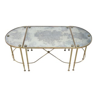 Mid 20th Century Maison Bagues Coffee Table W/ Original Distressed Mirror Tops - Set of 3 For Sale