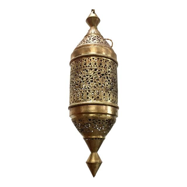 Moroccan Moorish Style Brass Pendant Light Fixture For Sale