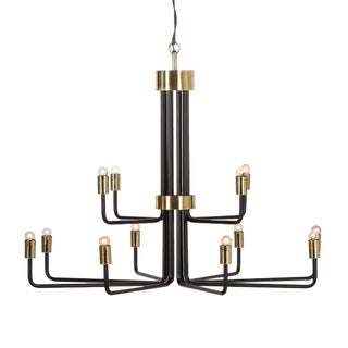 Modern Le Marais Black 12 Light Chandelier For Sale