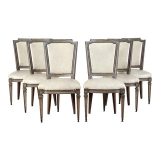Set of Six French Louis XVI Style Leather-Upholstered Dining Chairs For Sale