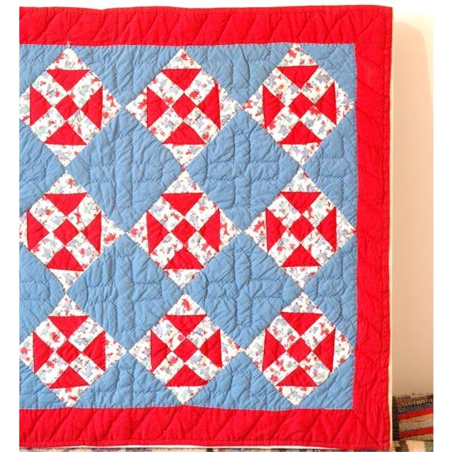 Blue 1930s Red, White and Blue Doll Quilt For Sale - Image 8 of 9