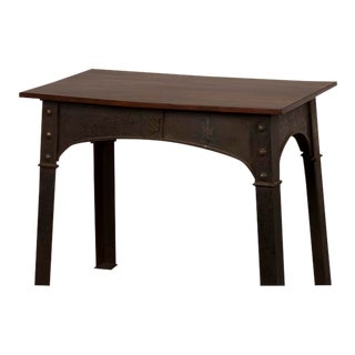 Antique English Solid Iron Table Base, Single Plank Mahogany Top Circa 1890 For Sale