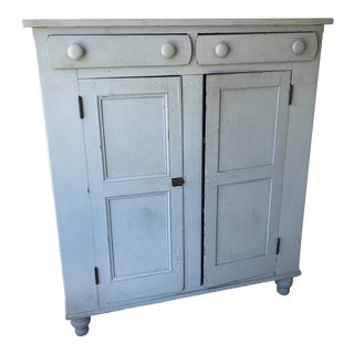 Antique Primitive Blue Painted Jelly Cabinet For Sale