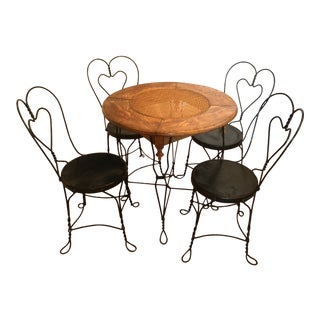 Vintage Indoor-Outdoor Cafe/ Bistro/Ice Cream Patio Table and Chairs- 5 Pieces For Sale