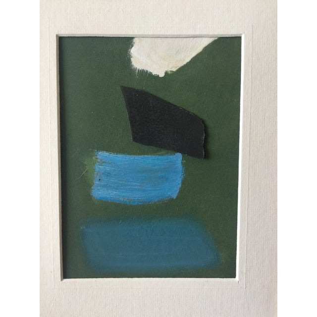 Pastel paint and paper collage in a vintage frame. Shades of green, blues, black and off-white. Vintage gold frame with an...