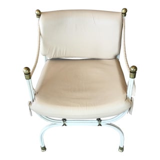 Hart Design Cream Leather and Steel Accent Chair For Sale