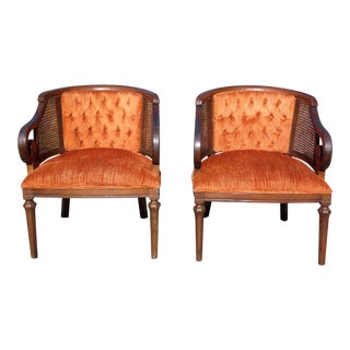 Pair Vintage Mid Century Modern Tufted Bergere Cane Scroll Arm Chairs For Sale