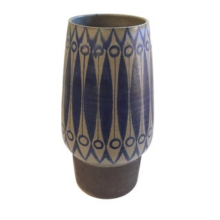 Boho Chic Brown and Blue Tall Painted Vase