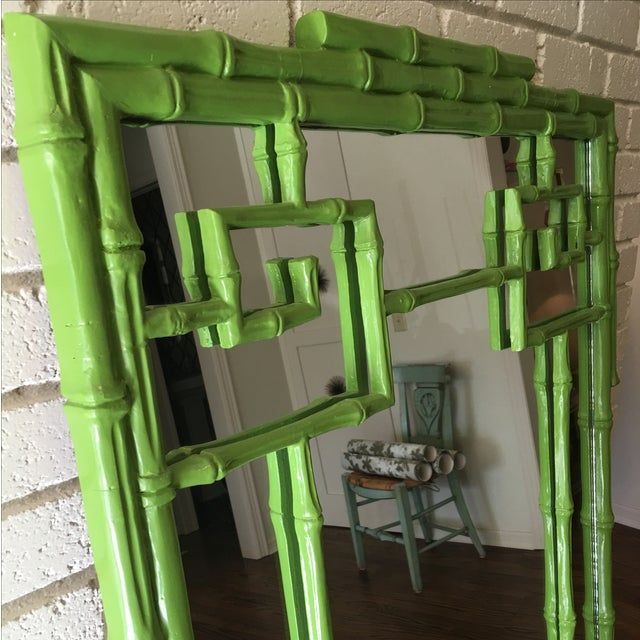 Green Faux Bamboo Mirror - Image 4 of 5