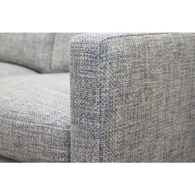 Mid-Century Modern Charles Pfister for Knoll Settee in Pollack Blue Weave Fabric For Sale - Image 3 of 10