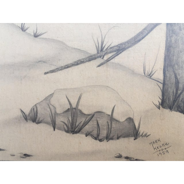Deer in Winter Mountain Vintage Drawing by M. Keoke - Image 5 of 6