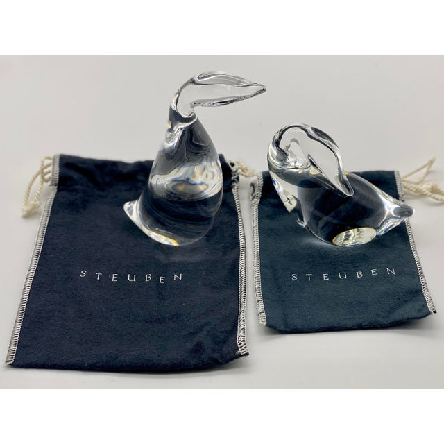 Contemporary Vintage Steuben Glass Lloyd Atkins Crystal Preening Goose and Gander Decorative Figurines - Pair For Sale - Image 3 of 13