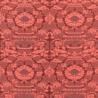 Sample, Suzanne Tucker Home Piacevole Silk Linen Jacquard Fabric in Cinnabar For Sale