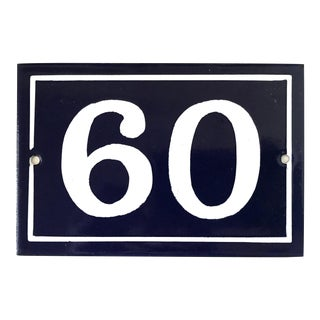 Mid 20th Century Vintage French Enamel House Number Plaque 60 For Sale